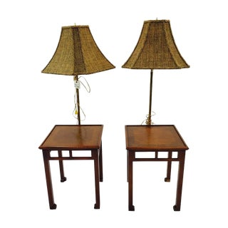 Mid-Century Ming Style Feet Lamp Tables - A Pair
