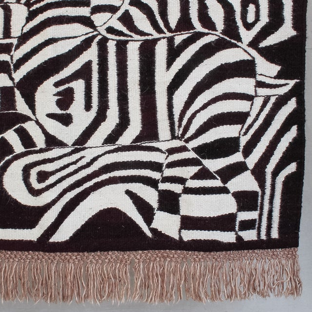 Large African Mohair Zebra Wall Hanging - Image 8 of 11