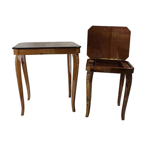 Image of Italian Marquetry Nesting Tables - Set of 2