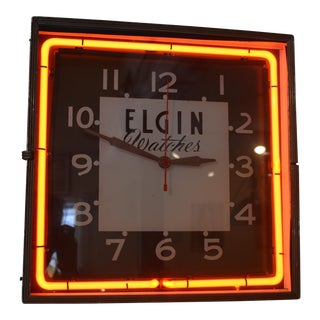 1940's Elgin Watches Neon Clock
