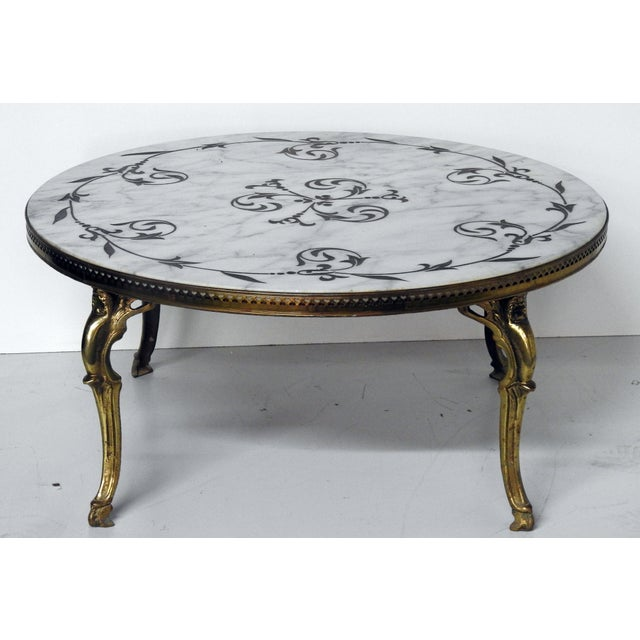 French Modern Marble Brass Coffee Table Chairish