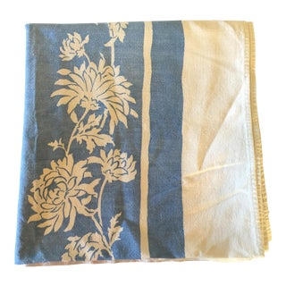 Vintage Blue & White Tablecloth W/ Chrysanthemums