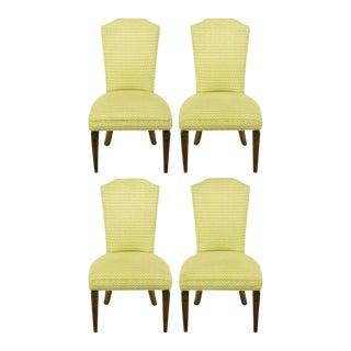 Four Regency Side Chairs In Apple Green & White Flamestitch