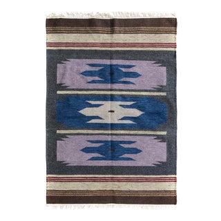 Kilim Arya Donovan Gray & Blue Wool Rug - 4'0 X 5'10
