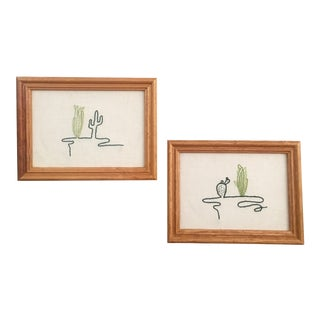 Framed Line Art Cactus Embroidery - A Pair