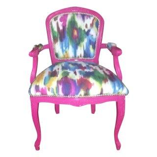 Pink Ikat Louis XVI Antique Chair