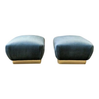 Oversized Souffle Poufs in Velvet and Brass, 1970s - A Pair
