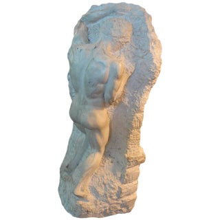 Antique Italian Carved Stone Male Torso Sculpture