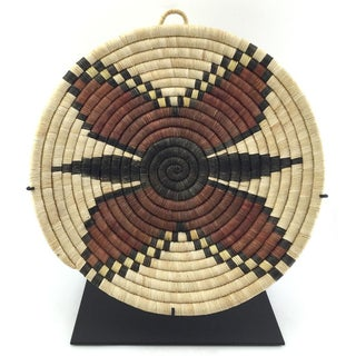 Hopi Coiled Butterfly Plaque Basket on Stand