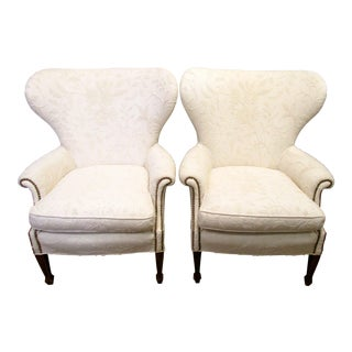 Cream Crewel Work Wingback Chairs - A Pair