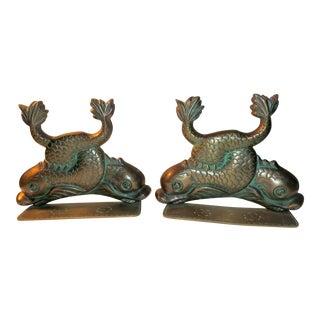 Antique Bronze & Brass Bookends - A Pair