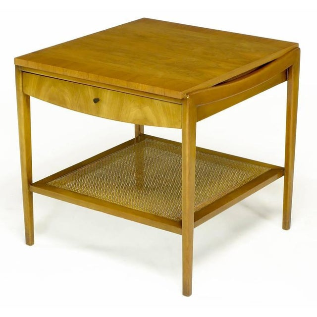 Pair Widdicomb Bleached Walnut & Cane Single Drawer End Tables - Image 3 of 10