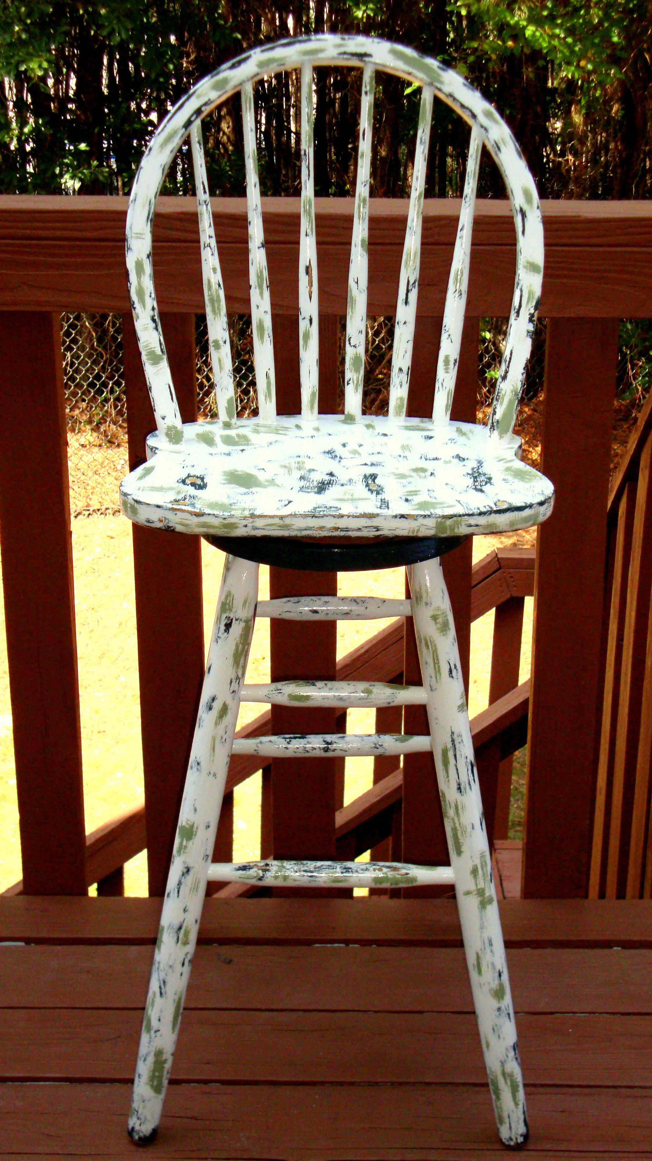 Country Cottage Hand Painted Distressed Bar Stool Chairish