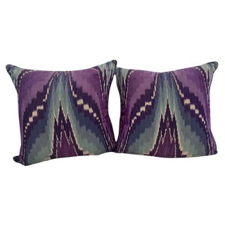 Purple & Blue Ikat Pillows - A Pair