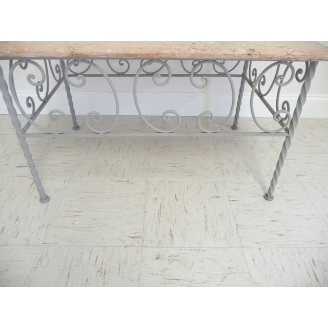 Vintage French Iron & Marble Top Coffee Table - Image 5 of 9