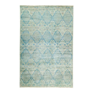 """Light Blue Hand-Knotted Rug- 5' 2"""" x 7' 10"""""""