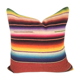 Vibrant Multi-Colored Vintage Saltillo Pillow