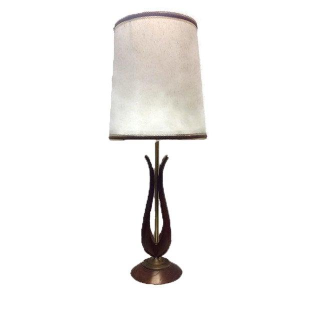 mid century wood table lamp chairish. Black Bedroom Furniture Sets. Home Design Ideas