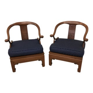 Navy Blue Ming Chairs - A Pair