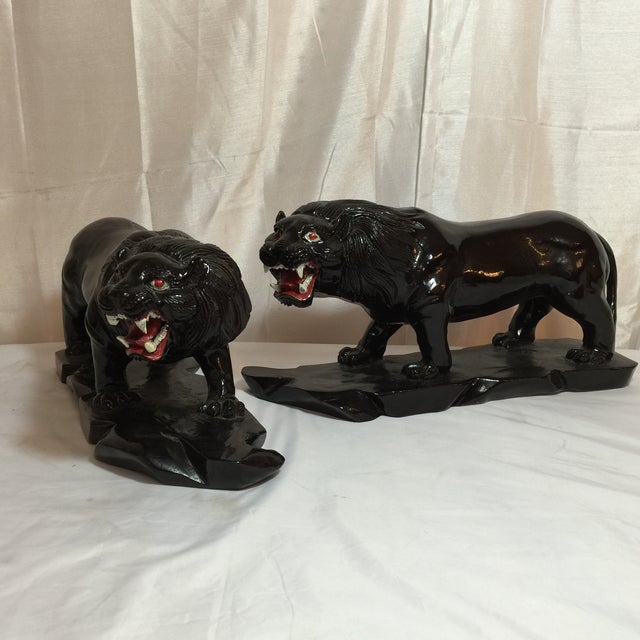 Vintage Hand-Carved Wooden Black Panthers - Pair - Image 2 of 8