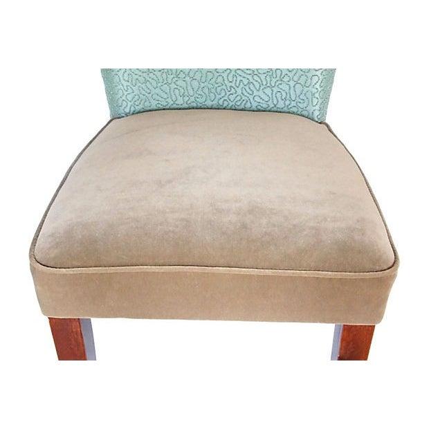 Sea Foam Velvet Swirl Chairs- A Pair - Image 3 of 7
