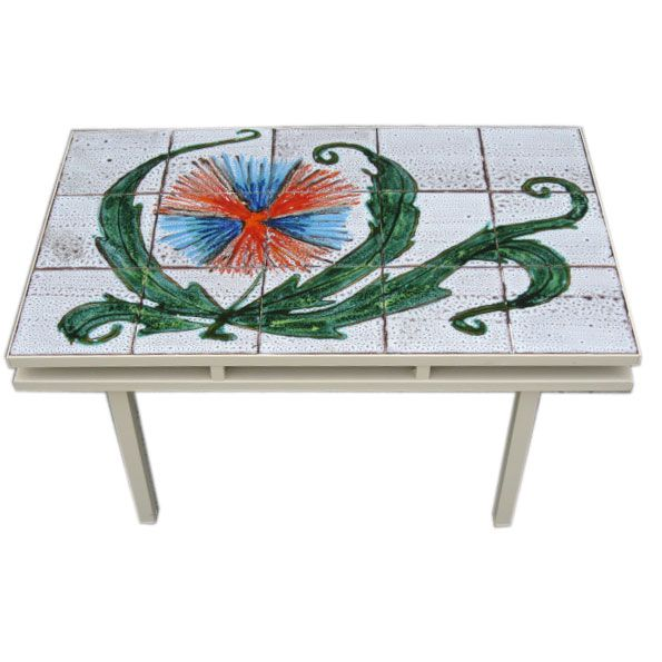 Image of Charming Mid-Century French Tiled Coffee Table