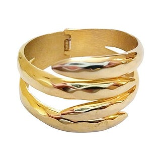 Gold-Plated Bypass Clamper Bracelet