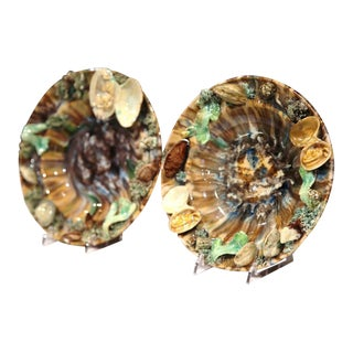 Early 20th Century Barbotine Wall Hanging Plates With Seashells - A Pair