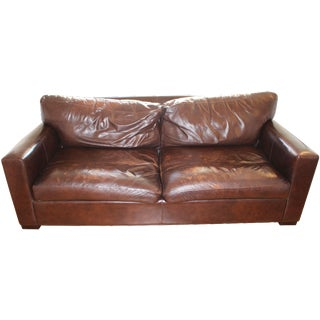 Crate & Barrel Brown Distressed Leather Axis Sofa