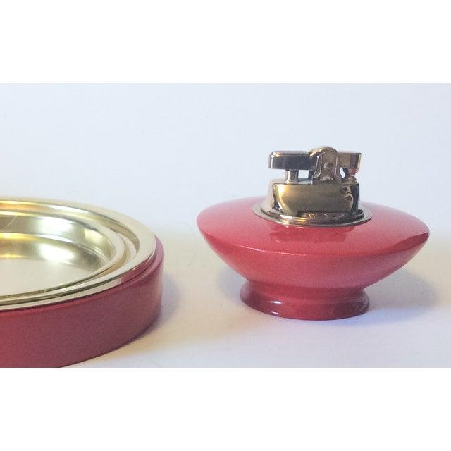 Image of 1960's Atomic Poppy RedLacquer Ashtray Lighter Set