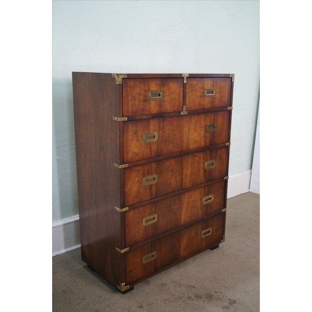 Vintage Lane Campaign Style Walnut Tall Chest - Image 5 of 10