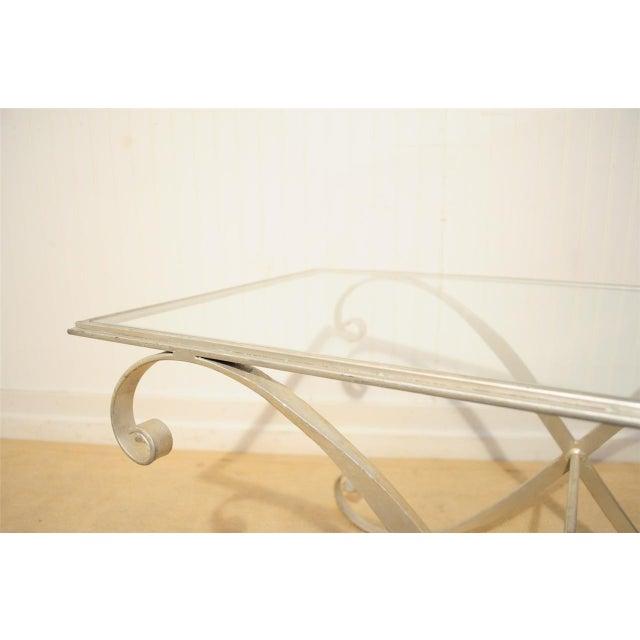 Vintage Hollywood Regency Neoclassical Silver Gilt Metal Coffee Table - Image 3 of 10