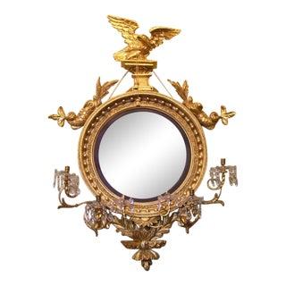 Monumental 19th C English Regency Convex Girandole Mirror with Eagle and Dolphin