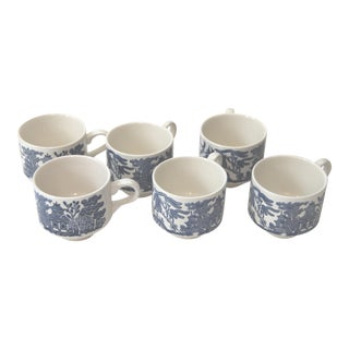 English Blue Willow Churchill Teacups - Set of 6