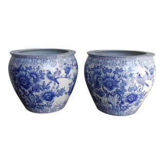 Japanese Blue and White Porcelain Planters - A Pair