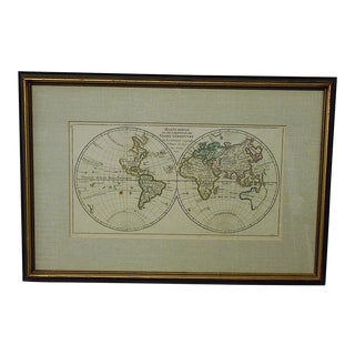 "Antique 18th C. Map-The World-""Mappe Monde"" c.1748"