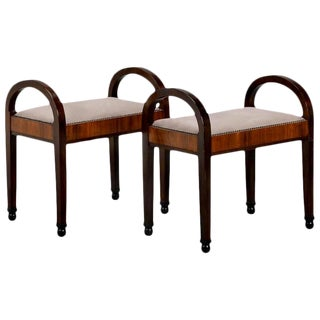 French Art Deco Upholstered Benches - A Pair