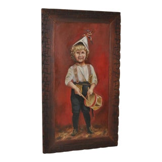 "American Folk Art Oil Painting ""Drummer Boy"" c.1890"