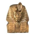 Image of Vintage Solid Brass Egyptian Bust of King Tut