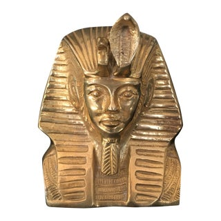 Vintage Solid Brass Egyptian Bust of King Tut