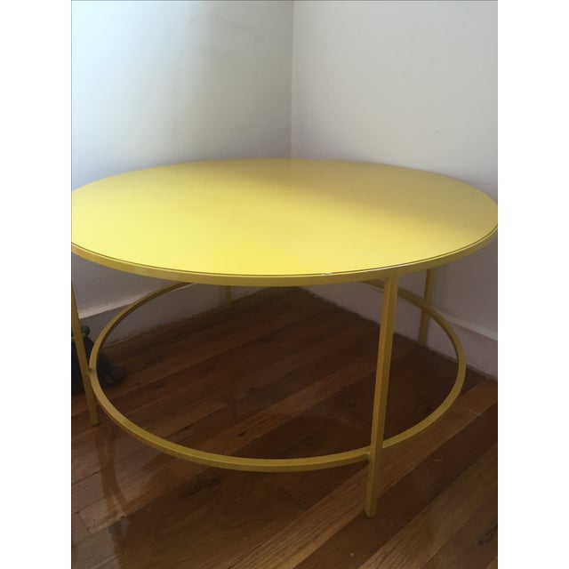 Slim round cocktail table chairish for Narrow cocktail table