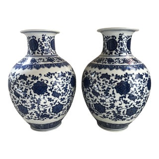 Chinese Chinoiserie Blue & White Porcelain Vases - A Pair