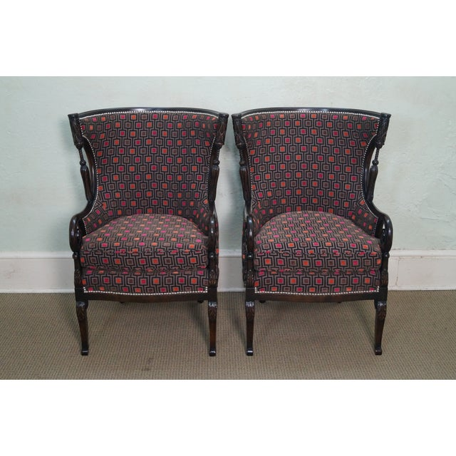Carved Fire Side Barrel Back Wing Chairs - Pair - Image 2 of 10