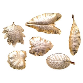 Cast Brass Organic Leaves Dishes - Set of 6