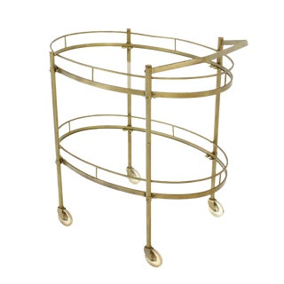 Oval Brass amd Glass Tea Cart on Wheels