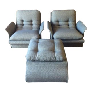 1970s Vintage Chairs & Ottoman - S/3