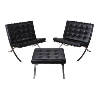Pair of Barcelona Chairs and Ottoman by Mies van der Rohe for Knoll