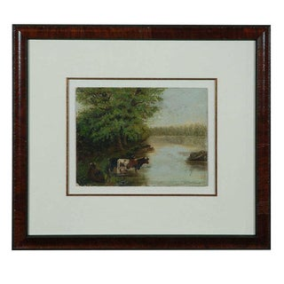 Landscape Painting with Cows in a Stream
