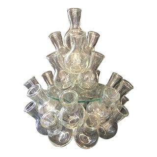 Vintage Mid-Century Glass Bottle Cluster Bud Vase