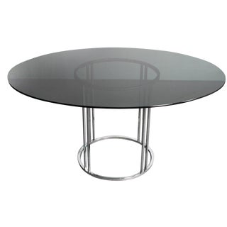 Oval Smoked Glass & Chrome Dining Table